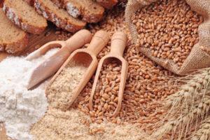 Wheat grains, bran and flour
