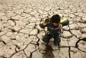 A child plays with dead clams on a dried-up riverbed on the outskirts of Zhengzhou
